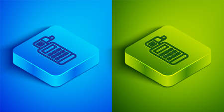 Isometric line Cash register machine with a check icon isolated on blue and green background. Cashier sign. Cashbox symbol. Square button. Vector