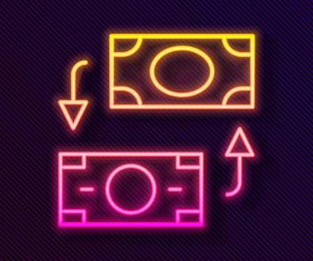 Glowing neon line Money exchange icon isolated on black background. Cash transfer symbol. Banking currency sign. Vector