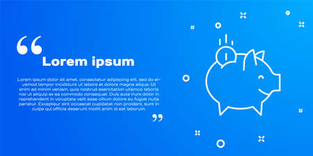 White line Piggy bank with coin icon isolated on blue background. Icon saving or accumulation of money, investment. Vector Ilustracja