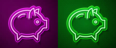 Glowing neon line Piggy bank icon isolated on purple and green background. Icon saving or accumulation of money, investment. Vector Ilustracja