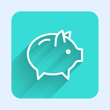 White line Piggy bank icon isolated with long shadow. Icon saving or accumulation of money, investment. Green square button. Vector