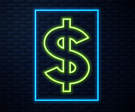 Glowing neon line Dollar symbol icon isolated on brick wall background. Cash and money, wealth, payment symbol. Casino gambling. Vector