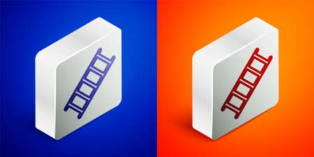Isometric line Fire escape icon isolated on blue and orange background. Pompier ladder. Fireman scaling ladder with a pole. Silver square button. Vector