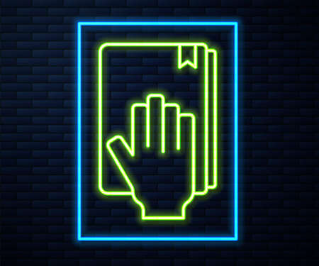 Glowing neon line Oath on the Holy Bible icon isolated on brick wall background. The procedure in court. Truth and truth. Promise before god. Vector