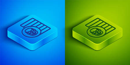 Isometric line Pirate coin icon isolated on blue and green background. Square button. Vector