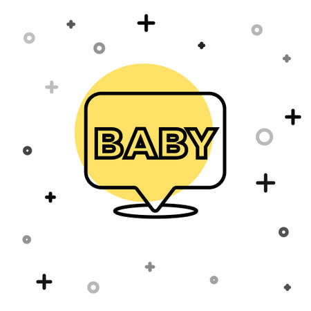 Black line Baby icon isolated on white background. Random dynamic shapes. Vector
