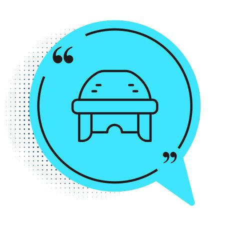 Black line Hockey helmet icon isolated on white background. Blue speech bubble symbol. Vector