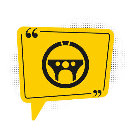 Black Steering wheel icon isolated on white background. Car wheel icon. Yellow speech bubble symbol. Vector Illustration