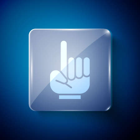 White Number 1 one fan hand glove with finger raised icon isolated on blue background. Symbol of team support in competitions. Square glass panels. Vector Illustration