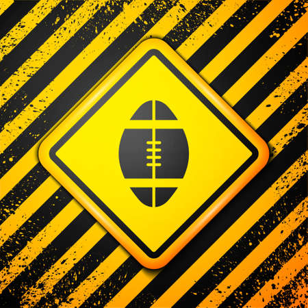 Black Rugby ball icon isolated on yellow background. Warning sign. Vector Illustration
