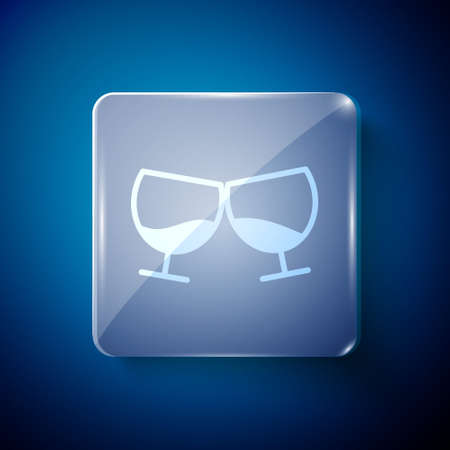 White Glass of cognac or brandy icon isolated on blue background. Square glass panels. Vector Illustration