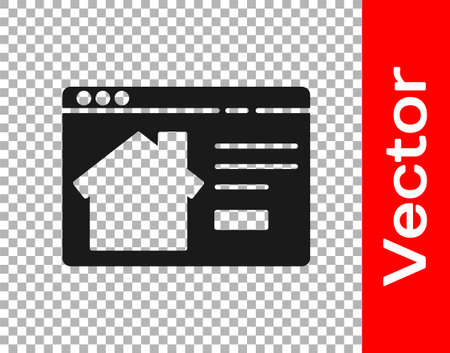 Black Online real estate house in browser icon isolated on transparent background. Home loan concept, rent, buy, buying a property. Vector Illustration
