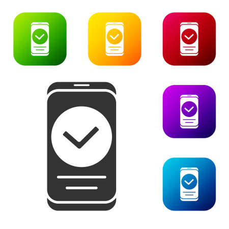 Black Smartphone, mobile phone icon isolated on white background. Set icons in color square buttons. Vector