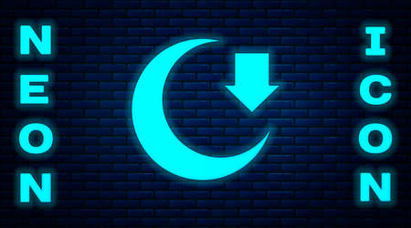 Glowing neon Moon icon isolated on brick wall background. Vector