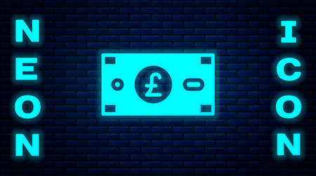 Glowing neon Pound sterling money icon isolated on brick wall background. Pound GBP currency symbol. Vector