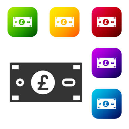 Black Pound sterling money icon isolated on white background. Pound GBP currency symbol. Set icons in color square buttons. Vector Ilustracja