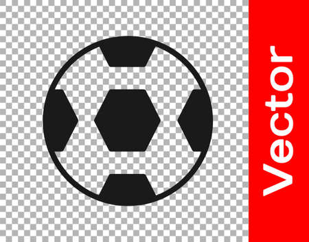 Black Football ball icon isolated on transparent background. Soccer ball. Sport equipment. Vector
