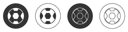 Black Football ball icon isolated on white background. Soccer ball. Sport equipment. Circle button. Vector