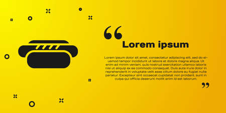 Black Hotdog sandwich icon isolated on yellow background. Sausage icon. Street fast food menu. Vector