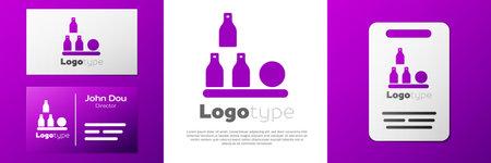 Logotype Bottles ball icon isolated on white background. Ilustracja