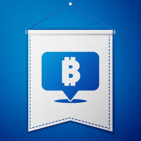 Blue Cryptocurrency coin Bitcoin icon isolated on blue background. Physical bit coin. Blockchain based secure crypto currency. White pennant template. Vector Ilustrace