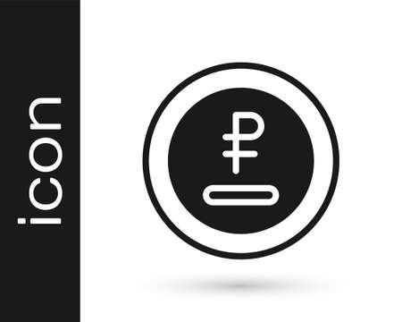 Black Rouble, ruble currency coin icon isolated on white background. Russian symbol. Vector Ilustracja
