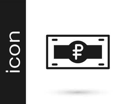 Black Russian ruble banknote icon isolated on white background. Vector