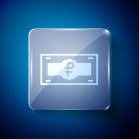 White Russian ruble banknote icon isolated on blue background. Square glass panels. Vector Ilustracja