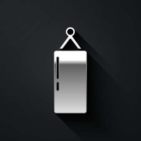 Silver Punching bag icon isolated on black background. Long shadow style. Vector