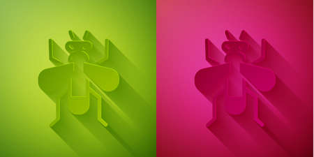 Paper cut Insect fly icon isolated on green and pink background. Paper art style. Vector