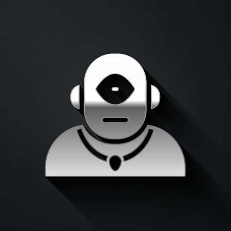 Silver Cyclops icon isolated on black background. Long shadow style. Vector