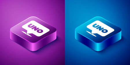 Isometric Uno card game icon isolated on blue and purple background. Square button. Vector