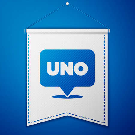 Blue Uno card game icon isolated on blue background. White pennant template. Vector