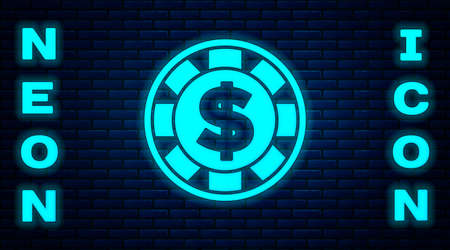Glowing neon Casino chip with dollar symbol icon isolated on brick wall background. Casino gambling. Vector