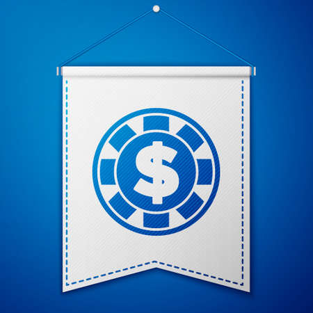 Blue Casino chip with dollar symbol icon isolated on blue background. Casino gambling. White pennant template. Vector