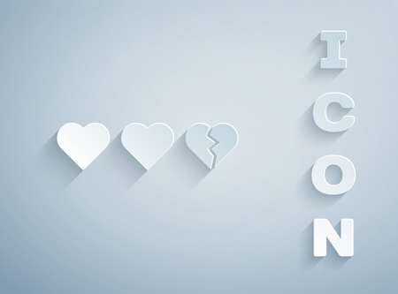 Paper cut Hearts for game icon isolated on grey background. Paper art style. Vector Ilustrace