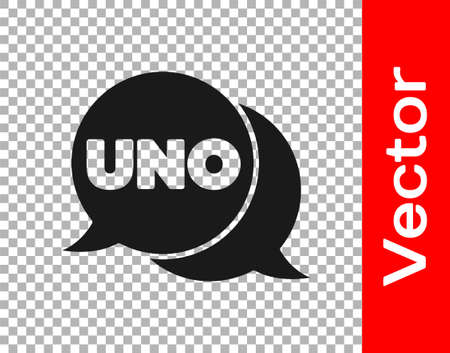 Black Uno card game icon isolated on transparent background. Vector