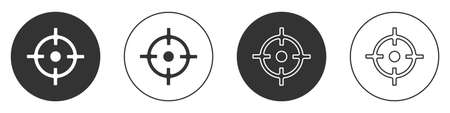 Black Target sport icon isolated on white background. Clean target with numbers for shooting range or shooting. Circle button. Vector