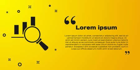 Black Magnifying glass and data analysis icon isolated on yellow background. Vector