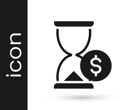 Black Hourglass with dollar icon isolated on white background. Money time. Sandglass and money. Growth, income, savings, investment. Vector Ilustracja