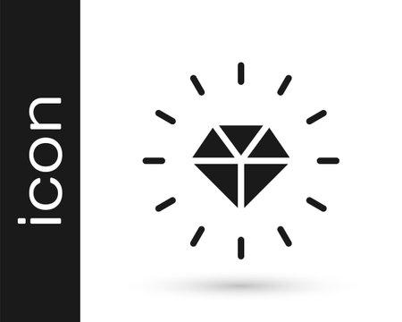 Black Diamond icon isolated on white background. Jewelry symbol. Gem stone. Vector