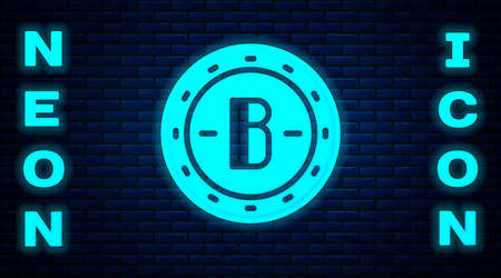 Glowing neon Cryptocurrency coin Bitcoin icon isolated on brick wall background. Physical bit coin. Blockchain based secure crypto currency. Vector Ilustrace