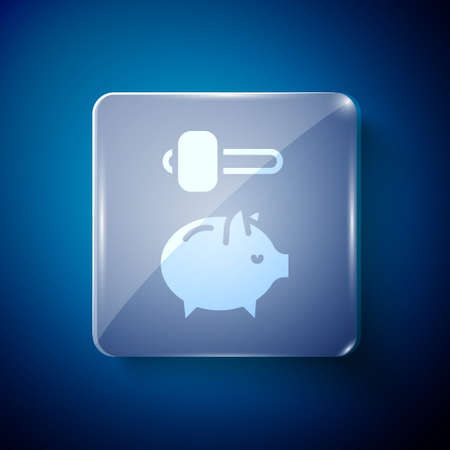 White Piggy bank and hammer icon isolated on blue background. Icon saving or accumulation of money, investment. Square glass panels. Vector