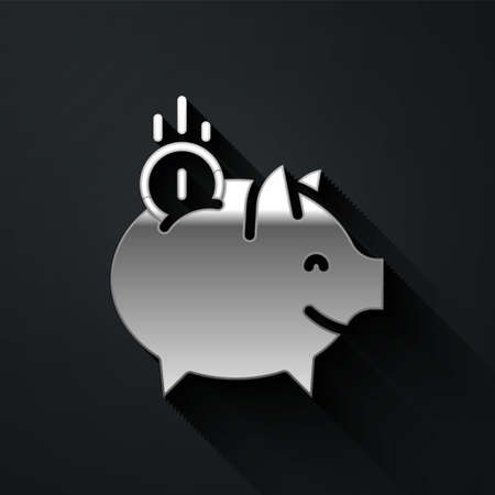 Silver Piggy bank with coin icon isolated on black background. Icon saving or accumulation of money, investment. Long shadow style. Vector Ilustracja