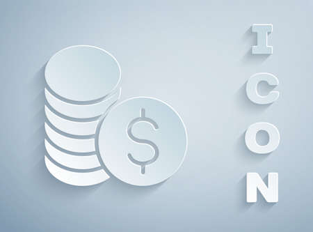 Paper cut Coin money with dollar symbol icon isolated on grey background. Banking currency sign. Cash symbol. Paper art style. Vector