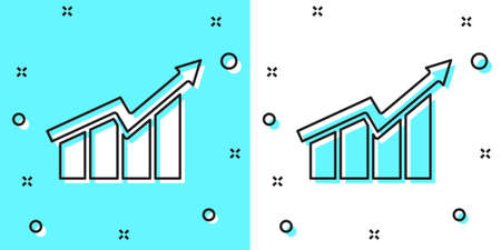 Black line Financial growth increase icon isolated on green and white background. Increasing revenue. Random dynamic shapes. Vector