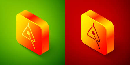 Isometric Triangle musical instrument icon isolated on green and red background. Square button. Vector