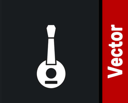 White Banjo icon isolated on black background. Musical instrument. Vector