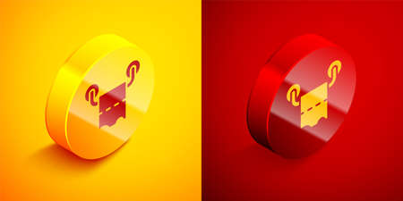 Isometric Toilet paper roll icon isolated on orange and red background. Circle button. Vector