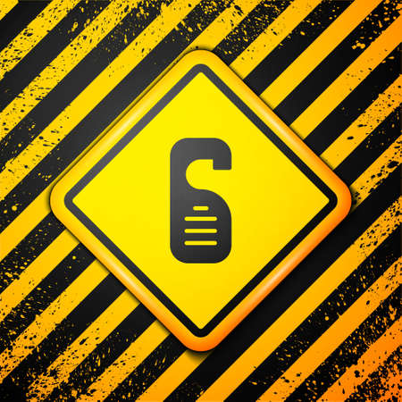 Black Please do not disturb icon isolated on yellow background. Hotel Door Hanger Tags. Warning sign. Vector
